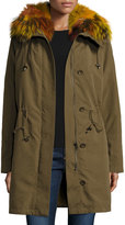 Trilogy Hooded Zip-Front Jacket w/ Multicolored Fur Trim, Green Multi