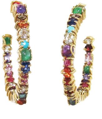Sharon Khazzam Multi-Stone Inside Out Baby Yellow Gold Hoop Earrings