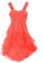 Rare Editions Sleeveless Mesh Cascade Dress with Embellished Waist - Girls 7-16