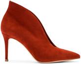 Gianvito Rossi Suede Open Heels in Crimson | FWRD