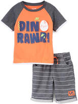 Orange 'Dino Rawr' Raglan Tee & Stripe Shorts - Infant & Toddler