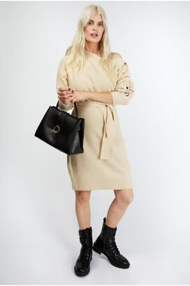 Little Mistress Mika Cream Slash-Neck Knit Dress