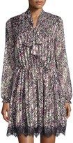 Alexia Admor Floral-Print Lace-Hem Dress, Multicolor