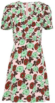 Sandro Antropique Floral-print Silk Crepe De Chine Mini Dress