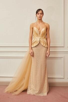 Gatti Nolli by Marwan Strapless Peplum Column Gown