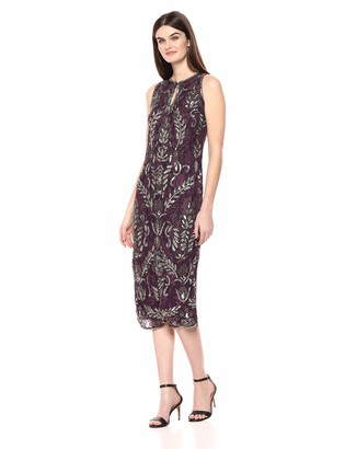 Pisarro Nights Women's Middy Dress with Keyhole Front and Floral Beaded Motif