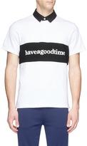 Have A Good Time Logo print panel polo shirt
