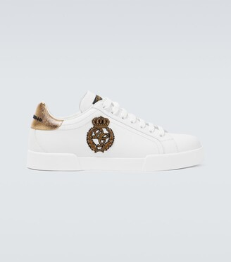 Dolce & Gabbana Low-top leather sneakers with logo