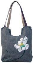 GESIMEI Women's Elegant Ethnic Shoulder Bags Lotus Flower Painted Totes