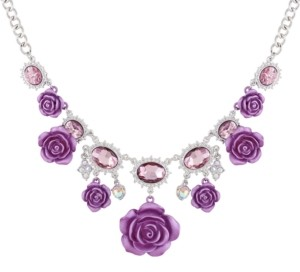 """GUESS Silver-Tone Crystal & Rose Statement Necklace, 18"""" + 2"""" extender"""