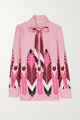 Valentino Pussy-bow Printed Silk-twill Blouse - Pink