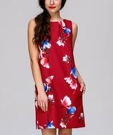 JET Wine Floral V-Back Shift Dress