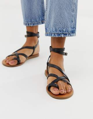 Aldo Gludda leather flat strap sandal in black