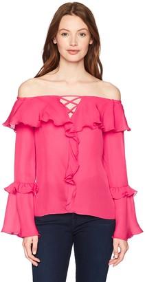 Parker Women's Erin Off The Shoulder Long Sleeve Ruffle Silk Blouse