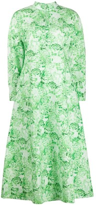 Ganni Floral Print Cotton Poplin Dress