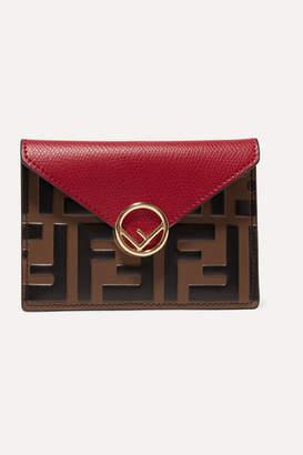 Fendi Embellished Embossed Leather Cardholder - Red