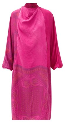 Marine Serre Printed Tie-neck Silk-satin Midi Dress - Fuchsia