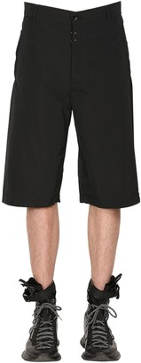 Givenchy Cotton Blend Shorts W/ Rubber Logo Patch