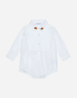 Dolce & Gabbana Shirt Bodysuit With Shirt Bib And Crown Embroidery