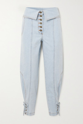 Ulla Johnson Kingston Lace-up Fold-over High-rise Tapered Jeans - Light denim