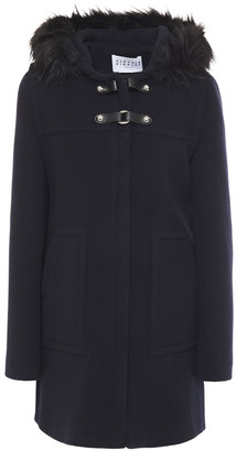 Claudie Pierlot Faux Fur-trimmed Wool-blend Felt Coat
