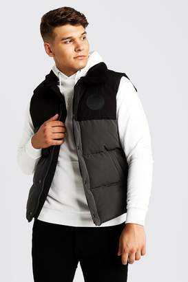 BoohoomanBoohooMAN Mens Grey Big & Tall Hand Filled Sleeveless Puffer, Grey