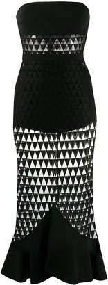 David Koma geometric-pattern strapless dress