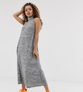 Asos DESIGN Petite high neck sleeveless maxi dress in marl-Grey