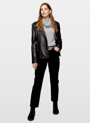 Miss Selfridge MOM High Waist Tapered Leg Navy Velvet Jeans