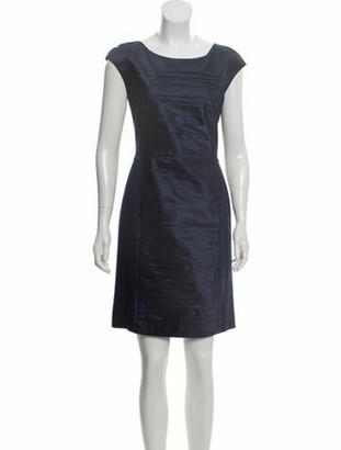 Oscar de la Renta Pleat-Accented Sheath Dress w/ Tags Navy