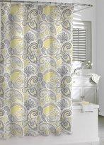 Kassatex Paisley Shower Curtain, Yellow/Grey, 72 by 72-Inch