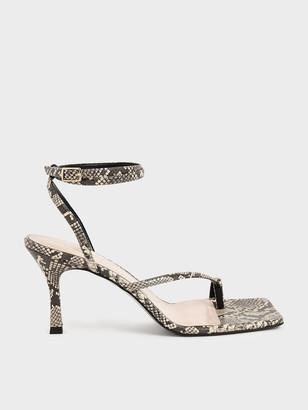 Charles & Keith Snake Print Toe Ring Heeled Sandals