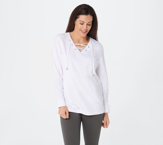 Denim & Co. Active Petite Textured French Terry Lace Up Tunic
