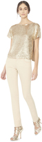 Alice + Olivia Pale Gold Sarita Sequin Drop Shoulder Tee