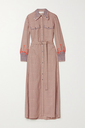 Chloé Kaia Belted Embroidered Checked Crepe And Silk Shirt Dress - Beige