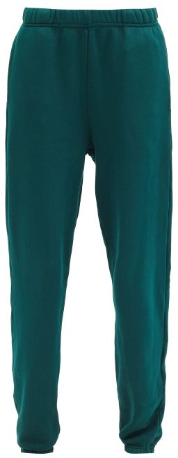 LES TIEN Brushed-back Cotton Track Pants - Green