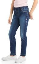 High stretch side embroidery skimmer jeggings