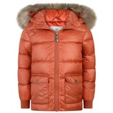 Pyrenex PyrenexOrange Authentic Down Padded Coat With Fur Trim