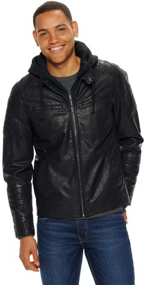 Apt. 9 Men's Faux Leather Moto Jacket With Removable Hood