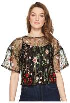 Romeo & Juliet Couture Floral Embroidery Sheer Top