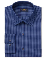 Club Room Men's Estate Classic-Fit Wrinkle Resistant Navy Blue Windowpane Dress Shirt, Only at Macy's