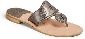 Jack Rogers Jacks Flat Metallic Leather Thong Sandals