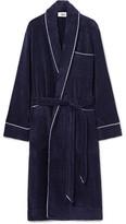 Sleepy Jones - Altman Contrast-tipped Cotton-terry Robe - Midnight blue