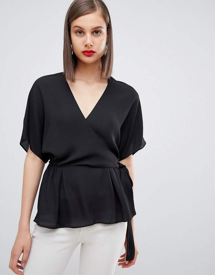Asos Design DESIGN wrap top with kimono sleeve