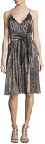 Halston Sleeveless V-Neck Lurex®; Jersey Midi Dress