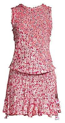 Poupette St Barth Women's Soleded Floral Tweed Trim Smocked Waist Dress