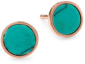 ginette_ny 18K Rose Gold & Turquoise Stud Earrings