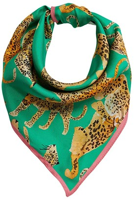 Echo New York Prowling Ocelot Silk Square (Black) Scarves