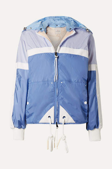 c4056ba1d Hooded Grosgrain-trimmed Shell Jacket - Blue