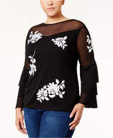 INC International Concepts I.n.c. Plus Size Embroidered Illusion Top, Created for Macy's